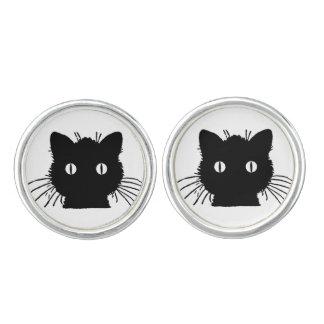 Boutons de manchette de chat noir
