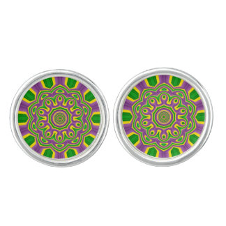 Boutons De Manchette Mandala pourpre jaune vert de motif de mardi gras
