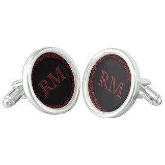 Boutons De Manchette Mariage rouge et noir de monogramme de damassé