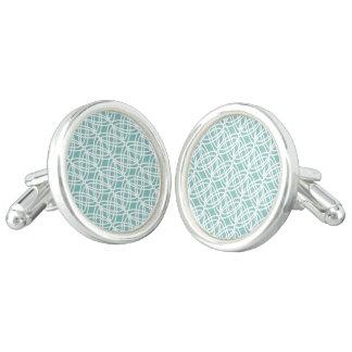 Boutons De Manchette Motif abstrait - bleu et blanc
