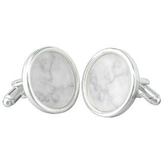 Boutons De Manchette Motif de marbre blanc élégant chic
