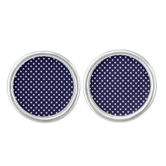 Boutons De Manchette Motif de pois de bleu marine et de blanc