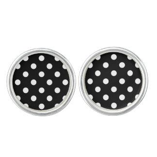 Boutons De Manchette Motif de pois noir et blanc