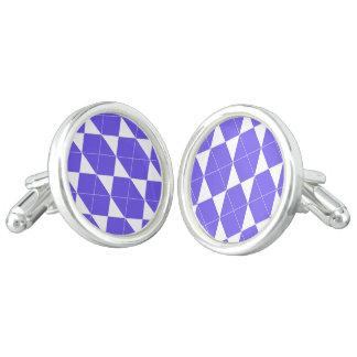 Boutons De Manchette Motif géométrique abstrait - bleu et blanc
