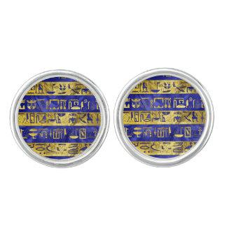 Boutons De Manchette Pierre bleue de motif égyptien d'or d'hiéroglyphes