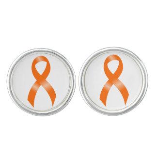 Boutons De Manchette Ruban d'orange de leucémie