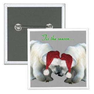 Boutons de Noël se blottissant les ours blancs Badges