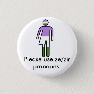Boutons de pronom de Genderqueer Ze/Zir Badge