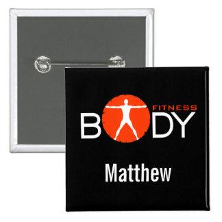 Boutons personnels de nom d'entraîneur de forme badge carré 5 cm