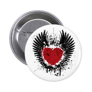 Boutons ronds d'arrière - plan grunge de coeur et badges