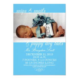 Bouts de bleus layette et annonces de naissance de carton d'invitation  13,97 cm x 19,05 cm