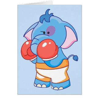 Boxe bleue d'éléphant de Lil Cartes De Vœux