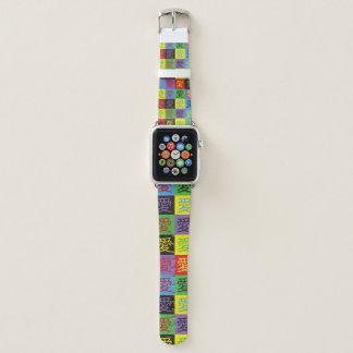 Bracelet Apple Watch Amour dans le bleu jaune pourpre de bruit de noir