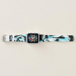 Bracelet Apple Watch Aqua et art moderne de noir