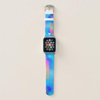 Bracelet Apple Watch Aquarelles tropicales vibrantes - coeur et