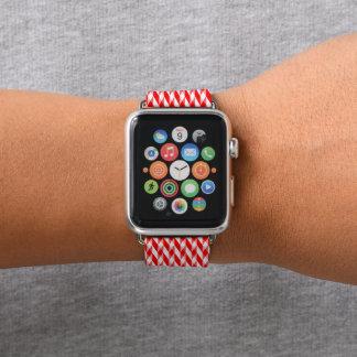 Bracelet Apple Watch Arête de hareng rouge et blanche