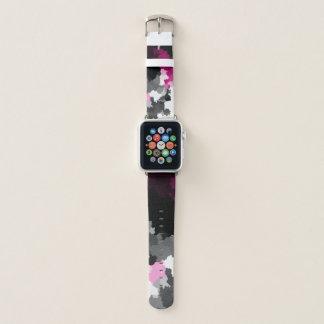 Bracelet Apple Watch art blanc et gris noir rose de nuage