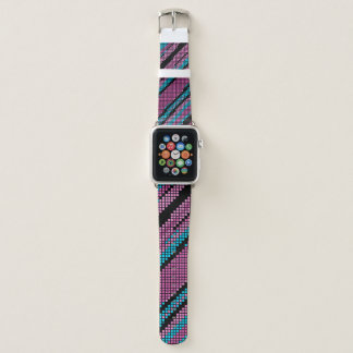Bracelet Apple Watch Art bleu et noir rose de pixel