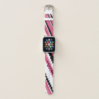 Bracelet Apple Watch Art noir et blanc rose de pixel