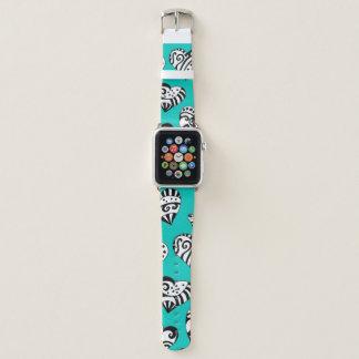 Bracelet Apple Watch Art turquoise d'encre de griffonnages de coeurs