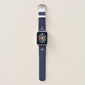 Bracelet Apple Watch Bande de montre bleue d'Apple de monogramme fait