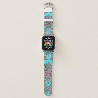 Bracelet Apple Watch Bande de montre bleue rouge d'Apple de damassé