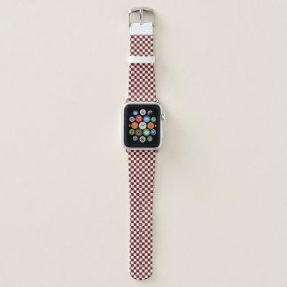 Bracelet Apple Watch Bande de montre Checkered rouge et blanche d'Apple