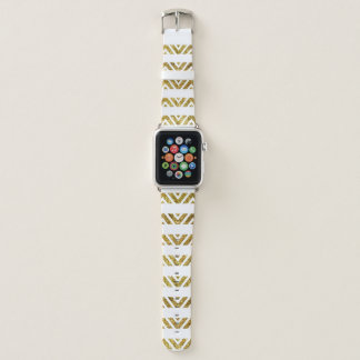 Bracelet Apple Watch Bande de montre d'Apple d'or de rayure de Chevron