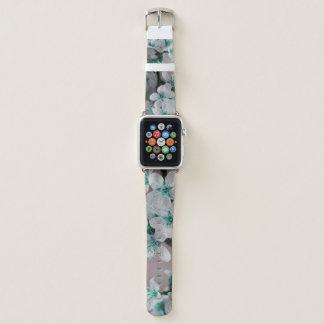 Bracelet Apple Watch Bande de montre d'Apple remplie de fleurs bleues