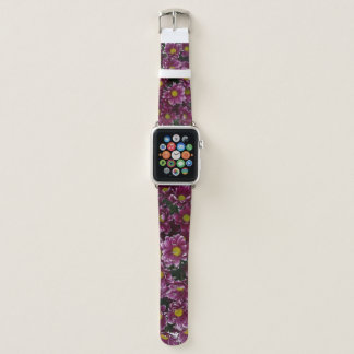 Bracelet Apple Watch Bande de montre d'Apple remplie de fleurs pourpres