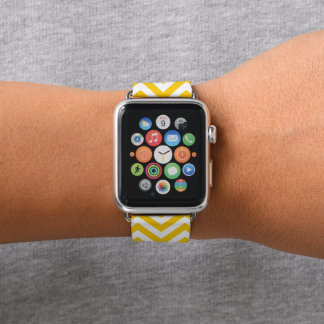 Bracelet Apple Watch Bande de montre jaune d'Apple de motif de Chevron