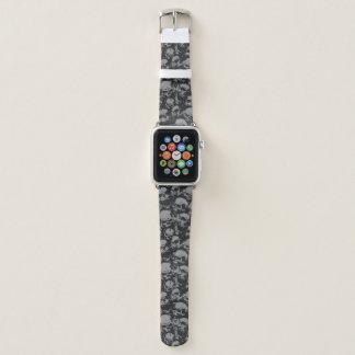 Bracelet Apple Watch Bande de montre noire et grise d'Apple de crâne