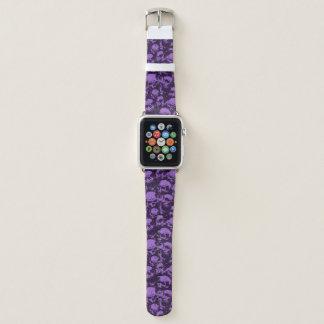 Bracelet Apple Watch Bande de montre pourpre d'Apple de crâne