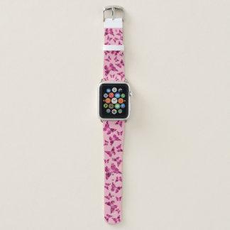 Bracelet Apple Watch Bande de montre rose d'Apple de papillon