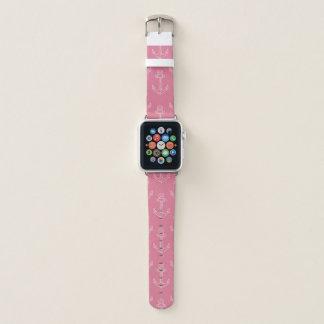 Bracelet Apple Watch Bande de montre rose nautique d'Apple d'ancre de