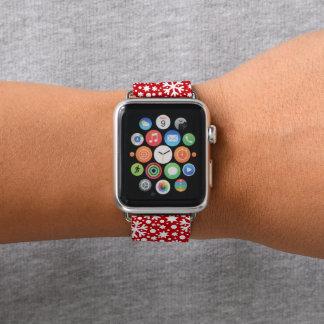 Bracelet Apple Watch Bande de montre rouge de pomme de flocon de neige