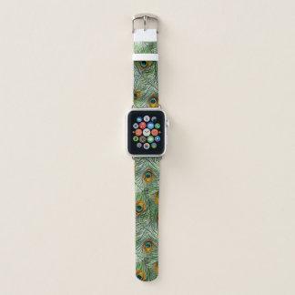 Bracelet Apple Watch Belle plume verte de paon