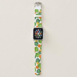 Bracelet Apple Watch blanc de monstera d'oranges de citrons