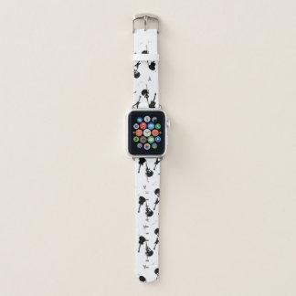 Bracelet Apple Watch Blanc de noir de roche de guitares une bande de