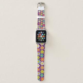 Bracelet Apple Watch Blanc et pourpre bleus