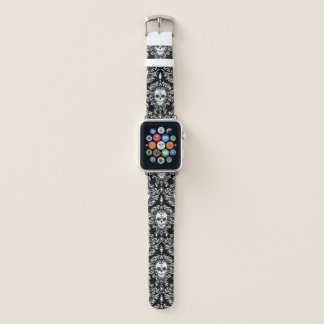 Bracelet Apple Watch Blanc mort de motif de crâne de sucre de damassé