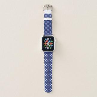 Bracelet Apple Watch Bleu avec Polkadot blanc