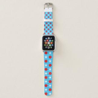 Bracelet Apple Watch Bleu-clair avec les étoiles blanches et le