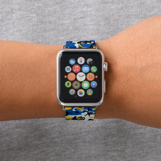 Bracelet Apple Watch Camo bleu et jaune