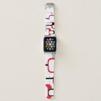 Bracelet Apple Watch Carré vintage noir rouge de blanc gris rétro