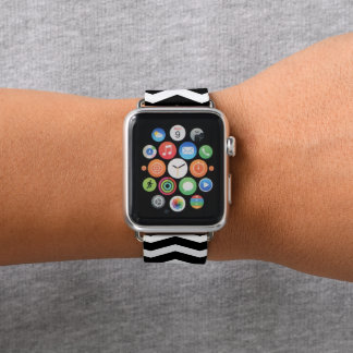 Bracelet Apple Watch Chevron noir modelé