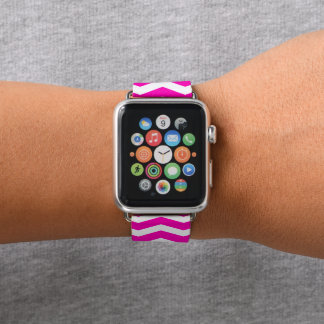 Bracelet Apple Watch Chevron rose modelé
