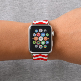 Bracelet Apple Watch Chevron rouge modelé