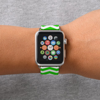 Bracelet Apple Watch Chevron vert modelé