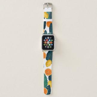 Bracelet Apple Watch Citrons et oranges blancs